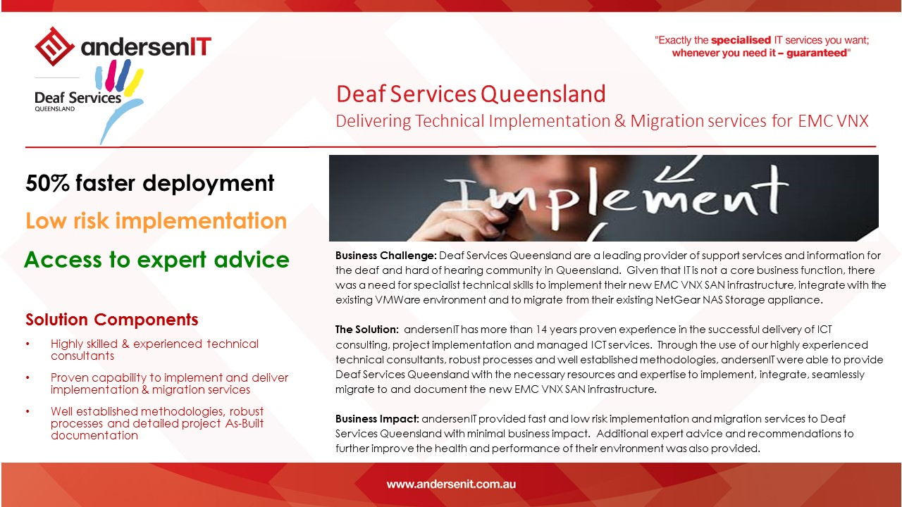 Deaf Services Queensland – Technical implmentation and migration services