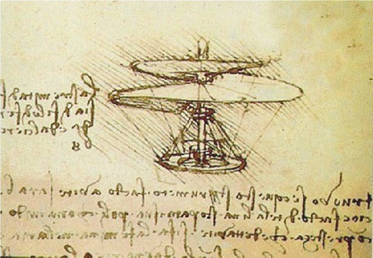 Leonardo da Vinci used pen and paper to sketch out designs